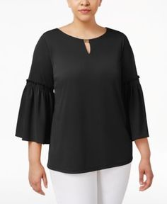 Calvin Klein Plus Size Ruffled Bell-Sleeve Top - Black 1X