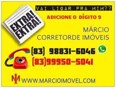 Bom dia. Se for me ligar não esqueça de acrescentar. O numero nove (9)!!! #jacuma #carapibus #tabatinga #coqueirinho #gramame #praia #amor #bela #www.marcioimovel.com