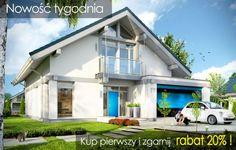 """Prezentujemy nowoczesny, energooszczędny dom dla cztero-sześcioosobowej rodziny - """"Otwarty 2"""" . Jest to mniejszy brat popularnego projektu """"Otwarty"""" z naszej pracowni.  Projekt to nowoczesna willa miejska, z pięknymi przeszkleniami otwierającymi wnętrze domu na otaczający ogród. Architektura budynku łączy w sobie prostotę bryły przekrytej łagodnym dwuspadowym dachem, z nowoczesnymi detalami architektonicznymi i materiałami zastosowanymi na elewacjach."""