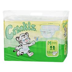 Adult Baby Crinklz Colourful Diapers Size M 12 Pieces L 10 in the Bag