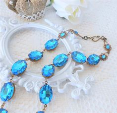 Blue Necklace, Blue Zircon Necklace, Blue Collet, Dark Aqua Collet Choker, Glass Jewel Necklace, Estate Style Jewelry, Art Nouveau, Art Deco   www.lisamariespiece.etsy.com