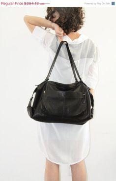 Black duffle bag Soft Leather bagLulu Bag by LadyBirdesign on Etsy, $250.00