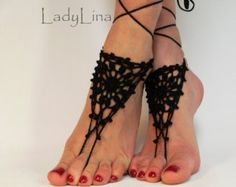 Crochet Barefoot Sandals, Anklet Barefoot Sandles, Foot jewelry, Steampunk, Victorian Lace, Black, Gift wrapped
