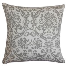 Filled with plush feather and down, this damask-print pillow adds a pop of style to your bed or sofa.   Product: PillowC...