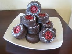 Lightning McQueen wheels made out of ding dongs that I made for my son's Cars birthday party.