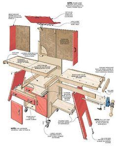 Интересны конструкции, совмещающие верстак и систему хранения и весьма компактные в закрытом виде