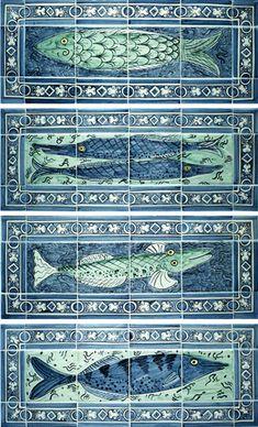 Four handpainted fishy tile panels