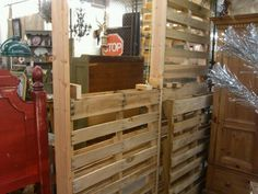 Start of construction pallet wall by RJ Diaz & CO. Pallet Crates, Pallet Walls, Pallet House, Wood Pallets, Reclaimed Wood Projects, Diy Pallet Projects, Outdoor Projects, Home Projects, Lifehacks
