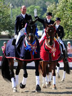 2008 US Olympic Dressage team :) Steffen Peters and Ravel, Debbie McDonald and Brentina and Courtney King-Dye on Harmony's Mythilus