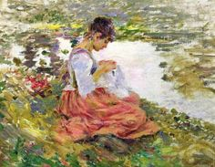 *Theodore Robinson (American artist, 1852-1896) Sewing by the River*