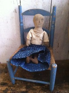 Early Doll found MA.. and early painted doll chair.