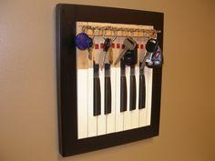 Repurposed Vintage Organ Piano Key Jewelry Rack and Frame