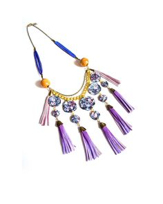 The Purple Passion Leather Statement Necklace by JewelMint.com, $160.00