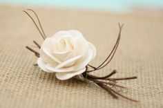 Natural Vintage Inspired Paper Creamy White Ivory Roses Wedding Pin Boutonniere from braggingbags on Etsy. Saved to Things I want as gifts. Wedding Pins, Wedding Paper, Rose Wedding, Floral Wedding, Rustic Wedding, Wedding Flowers, Dream Wedding, Wedding Ideas, Wedding Stuff