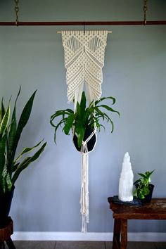 Macrame Plant Hanger 60 Knotted Natural White by BermudaDream