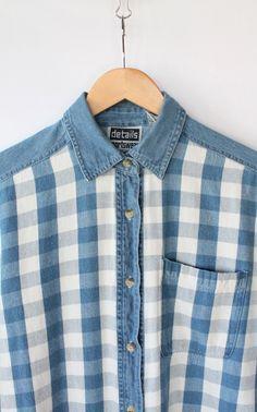 Vintage 80s Blue Checkered Soft Denim Shirt // Women's Denim Flannel Top. $28.00, via Etsy.
