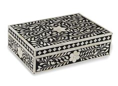 This stunning Black Bone Inlay Box is perfect to store your beautiful treasures. This intricate floral pattern carved from bone, creates a beautiful contrast against the Black colour.  This decorative inlay box is an accessory that would look great anywhere in your home. It would also make a great gift that any friend would be delighted to receive. Size 14 x 9 x 4 (inches)  You may request any colour you like.
