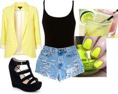 Neon Blazer and Jeans Shorts Jean Shorts, Blazer, Fashion Outfits, Fresh, My Style, Polyvore, Clothes, Stuff Stuff, Denim Shorts