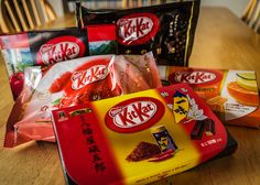 Did you know that in Japan, KitKats come in many flavors? Some are regional, mirroring the food that the region is known for. In this pic, there's dark chocolate, apple, raspberry, green tea, citrus, and a chocolate-vanilla chili pepper flavored KitKat.