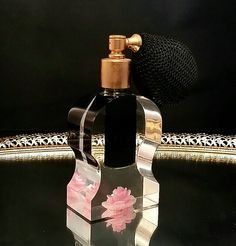 Lucite Pink Rose Perfume Atomizer Bottle by OldGLoriEstateSale