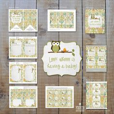 Instant Download, Owl Baby Shower, Look Whooo's Having A Baby, Giant Set of Printables 52012. $12.00, via Etsy.