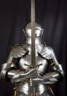 Armour of the medieval knight Metal protection of the soldier against the weapon of the opponent