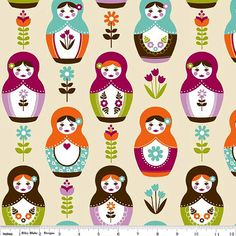 Fabric 1 Yard Little Matryoshka c3310-cream DOLLS Nesting Doll Riley Blake Quilting Sewing by thespincycle on Etsy