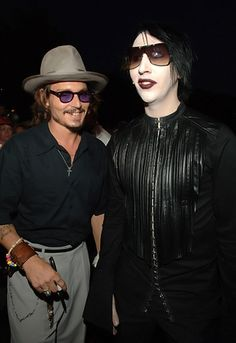 Johnny Depp and Marilyn Manson during the premiere of 'Pirates of the Caribbean: Dead Man's Chest' in Anaheim, California.