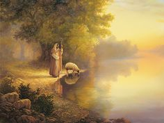 Jesus Art Print featuring the painting Beside Still Waters by Greg Olsen Lord Is My Shepherd, The Good Shepherd, Jesus Shepherd, Greg Olsen Art, Arte Lds, Images Bible, Beside Still Waters, Pictures Of Christ, Lds Pictures