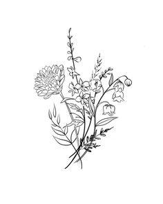 Aster Flower Tattoos, Flower Bouquet Tattoo, Daffodil Tattoo, Birth Flower Tattoos, November Birth Flower, Birth Month Flowers, December Flower Tattoo, Birth Month Symbols, Crisantemo Tattoo
