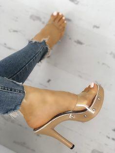 27123cfecd Rivet Embellished Platform Transparent Heel Sandals Transparent Heels, Sexy  Sandals, Pretty Toes, Sexy