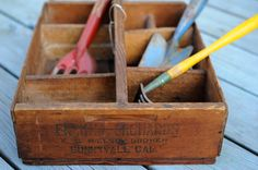 Vintage Wood Garden Tool Caddy Box by utopiapictures on Etsy
