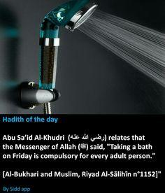 Hadith of the day: taking a bath on Friday Islam Hadith, Islam Muslim, Allah Islam, Islam Quran, Alhamdulillah, Prophet Muhammad Quotes, Hadith Quotes, Quran Quotes, Islamic Phrases