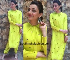 For the promotions of Nenu Raju Nenu Mantri, actress Kajal Aggarwal picked a neon green pair of separates by Raw Mango Salwar Designs, Simple Kurti Designs, Kurta Designs Women, Kurti Designs Party Wear, Sleeves Designs For Dresses, Neck Designs For Suits, Dress Neck Designs, Blouse Designs, Churidhar Designs