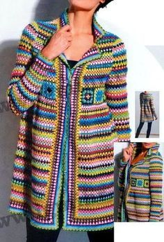 Crochet Sweaters: Crochet Pattern of Cardigan Jacket or Coat - Square Granny