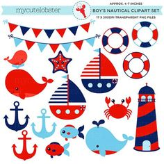 First Birthday Crab Photo Clips Newborn-12 Months Photo Clips Nautical Whale Navy Red. Create photo banner Set of 13 Ocean