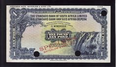 Namibia Currency - South West African pound banknote of 1931 - 1954, issued by the Standard Bank of South Africa Limited - Standard Bank van Suid Afrika Beperk.  Obverse: Sheep grazing and Waterfall. Reverse: South African Mountain landscape with Greater Kudus at waterhole - Etosha National Park, Namibia. Printed by Waterlow and Sons Limited, London United Kingdom.  The South West African pound was issued between the 1930s and 1959 by the Standard Bank of South Africa Limited,