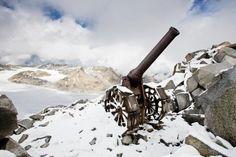 A vestige of alpine warfare, an Italian cannon still stands on Cresta Croce, a 3,000 meter high Adamello ridge