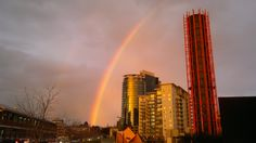 Double rainbow in Southbank at sunset, 17/08/2011.
