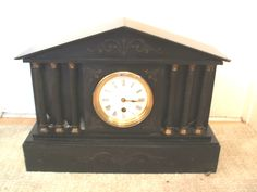 Victorian French Marble Case With Columns Timepiece Mantle Clock 12 H 16.5 W