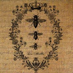 Bees French Digital Collage Sheet Word Writing Queen by Graphique, $1.00