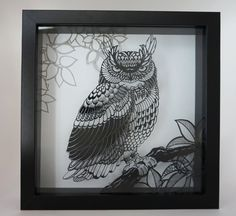 Layered handmade paper cut Owl framed in shadow by SinyeeCraft. have spent long time to create this item, it's one of the most difficult pattern i have ever made.