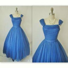 50's Ruched Chiffon Cerulean Blue Dress