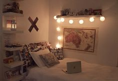 Love the shelves next to the bed