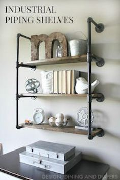 Storage Shelves made out of industrial pipes