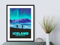 This print celebrates Iceland. The land of fire, ice, incredible mountains and the northern lights. This print would be a perfect gift for anybody who has travelled to Iceland, trekked over the glaciers or climbed the mountains. Wall Art Prints, Poster Prints, Posters, Mountain Art, Fire And Ice, Me As A Girlfriend, Iceland, Northern Lights, The Incredibles