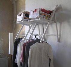 DIY Mason Jar Storage - Folding Chair Closet - Click Pic for 44 Easy Organization Ideas for the Home