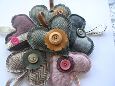 Tweed hearts from Cojango Crafts on Etsy