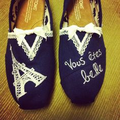 Women's French Lace Toms Shoes.
