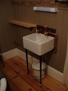 mini belfast sink - globe taps - copper piping - french enamel bucket